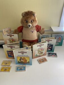 Vintage Teddy Ruxpin Worlds of Wonder with Tapes & Books Working-Mouth Eyes Move