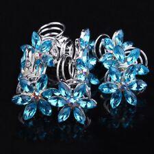Crystal Hair Accessories Bridal Headdress Spiral Clip Diamond Flower Hairpin