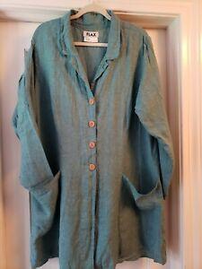 Flax Designs aqua linen long duster L pockets button front