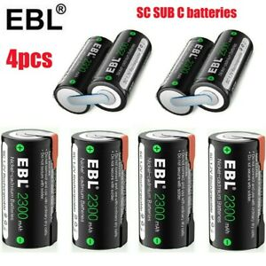4x SC Sub C 2300mAh 1.2V NiCD Rechargeable Battery W/Tab For Power Tools