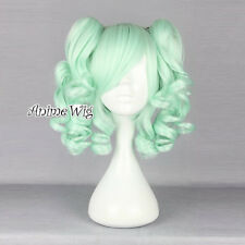 Lolita Light Green 35CM Short Fashion Cosplay Harajuku Wig + 2 Curly Ponytails