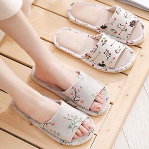 Home Warm Shoes Slipper Floral Soft Couple House Indoor Floor Non-slip Linen