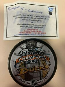 RYAN GETZLAF auto ANAHEIM DUCKS 2007 Stanley Cup autographed signed puck wth COA