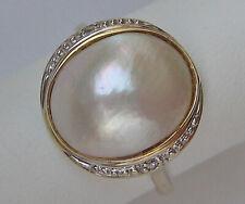 Diamant Brillant Mabe Perlen Ring in aus 14kt 585 Gold mit Diamanten Perle 6659