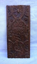French Antique Shell Flower Carved Oak Wood Panel 18th C