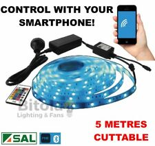 NEW SAL PIXIE 5 METRE SMART BLUETOOTH RGB COLOUR CHANGING LED STRIP LIGHT KIT