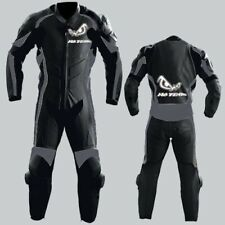 No Fear Black Motorcycle Leather Motor Bike Racing Leather Suit, 1 pcs / 2 pcs
