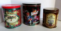 3 Snack Tin Orville Redenbacher's Popcorn Bugles Christmas Houston Food Vintage