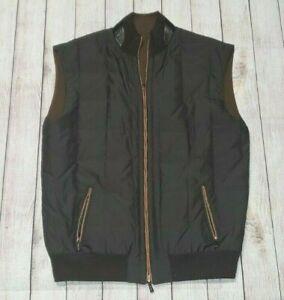 ERMENEGILDO ZEGNA Reversible Vest Premium Cashmere Nylon Leather Accents 3XL/58