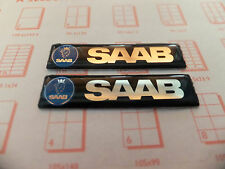 2 x SAAB GEL TRIM BADGE EMBLEM SIDE WING INTERIOR EXTERIOR 93 95 97 90 900 9000
