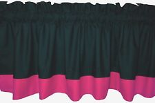 New solid BLACK bright PINK window VALANCE