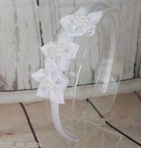 Girls Kids Children Alice Style Bands Headbands 3 White Satin Flowers