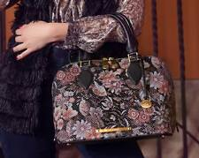 ❤BRAHMIN VIVIAN BLK BOHEMIA DOME SATCHEL WALLET FLORAL SNAKE GREY PINK LEATHER❤