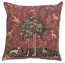 Belgian Tapestry Decorative Throw Pillow Cushion Cover 18x18 Unicorns Cotton