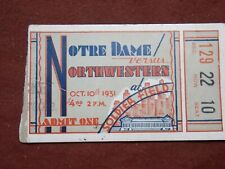 1931 Notre Dame VS Northwestern at Soldier Field College Football Ticket Stub