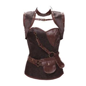 Medieval Costume Women Gothic Knight Corset Halloween Cosplay Steampunk Vest
