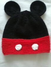 Babies hand knitted mickey mouse hat 0-6 6-12 months and 1-2 and 2-3 years