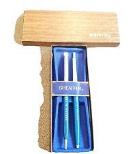 Vintage Sheaffer 60's-70's Pastel Blue/ Chrome Pen & Pencil Set Engraved IOB