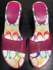Coach Pink Sandals Signature Flip Flop Kitten Heels Jelly Women's 7
