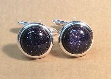 Blue Goldstone Cufflinks, (round, 16mm), in a Silver finish.