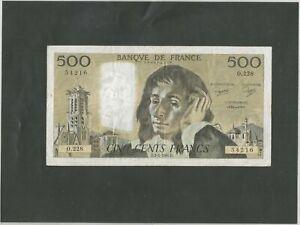 Billet 500 françs Pascal.Année 1985.Etat TTB.