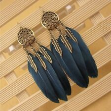 Catcher Earring Boho Festival Boutique Uk Gold Blue Turquoise Long Feather Dream