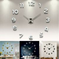 Large Modern DIY 3D Number Wall Clock Mirror Sticker Decor Home Office Kids Room