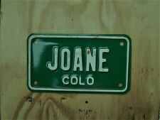 UNDATED COLORADO MOTORCYCLE VANITY LICENSE PLATE # JOANE
