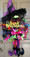 "HAPPY HALLOWEEN X-Large 36"" Deco Mesh Witch Posable Legs Hat Wreath Door Decor"