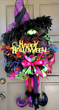 "Halloween Witch Wreath Large 36"" Witch Hat & Legs Deco Mesh Handmade Door Decor"