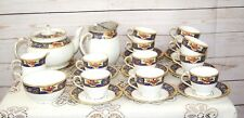 Vintage Radfords Fenton Art Deco Fine Bone China 28 Piece Blue Gold Tea Set