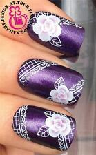 NAIL ART WRAPS WATER TRANSFERS STICKERS DECALS DECORATION SET FLOWERS LACE #257