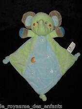 Doudou Losange Eléphant Elephant vert bleu Nicotoy étoile lune 30 cm
