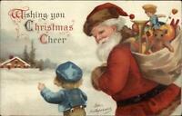 Christmas - Santa Claus & Children c1910 Ellen Clapsaddle Postcard #1