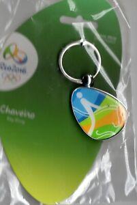 RIO 2016 OLYMPICS. KEYCHAIN DEPICTING EQUESTRIAN PICTOGRAM. ON ORIGINAL CARD