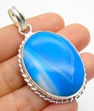 Stripped Onyx  Pendant Gemstone Jewellery 925 Sterling Silver Hand Made 44mm