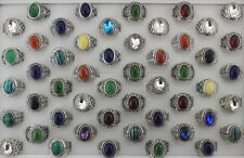 6pcs Wholesale Lots Mixed Style Colorful Glass Resin Unisex Jewelry Alloy Rings