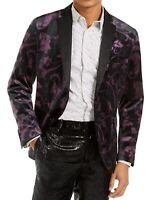 INC Mens Blazer Purple Black Size Medium M Tuxedo Floral Velvet $149 #174