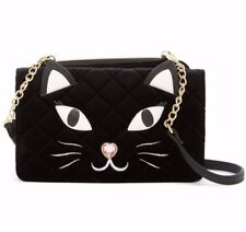 Betsey Johnson Convertible Kitty Cat Crossbody Clutch Wallet Velour Bow Wos