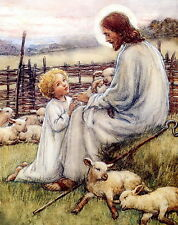 Religious Art Print THE GOOD SHEPHERD Jesus Blessing Little Child Lamb Sheep