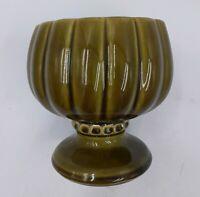 """Vintage McCoy Floraline Pottery Pedestal Planter #491 USA Olive Green 6"""" Tall"""