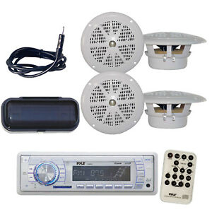 PLMR18 New Yacht Boat MP3 USB Radio 4 x Waterproof Stereo Speakers-Antenna-Cover