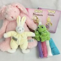 Baby Girl Easter Basket stuffers pink plush Bunny Bunnies by the bay book rattle