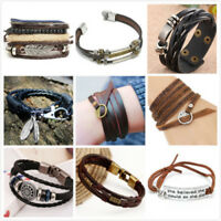 Fashion Leather Cute Infinity Charm Wrap Men Women Bracelet Jewelry Punk Style