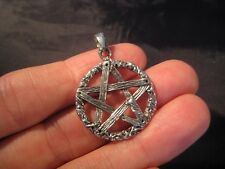 925 sterling silver wicca pentagram pendant necklace jewelry art     AA