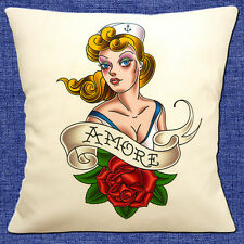 "NEW SAILOR JERRY TATTOO ARTIST 'AMORE' BLONDE LADY ROSE 16"" Pillow Cushion Cover"
