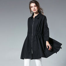 Autumn new womens loose plus size Trench Coat long sleeve Elegant coats zipper