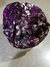 Womens New Purple Turban Cap Flower Cancer Chemo Hat Hijab Hair Loss Head Scarf