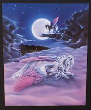 Fantasy White Unicorn and Baby Sleeping Vintage Poster Print 20 x 16