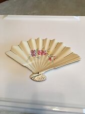 Porcelain White With Flowers Fan Trinket Holder